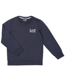 EA7 Emporio Armani Boys Blue Crew Neck Sweatshirt