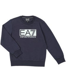 EA7 Emporio Armani Boys Blue Large Rubber Logo Sweatshirt