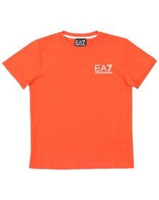 EA7 Emporio Armani Boys Orange Small  Logo T Shirt