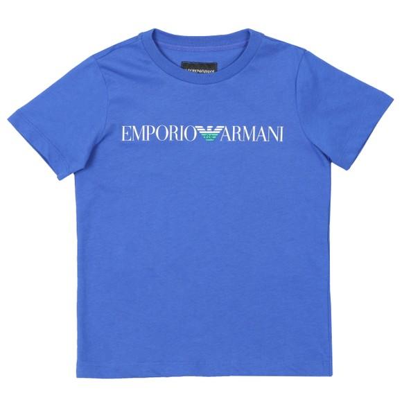 Emporio Armani Boys Blue Script Logo T Shirt main image