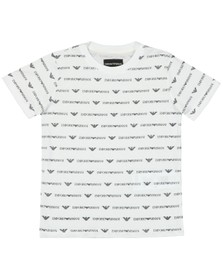 Emporio Armani Boys White Allover Pattern T  Shirt