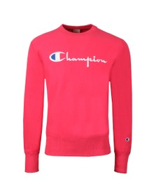 Champion Mens Pink Reverse Weave Script Logo Sweatshirt