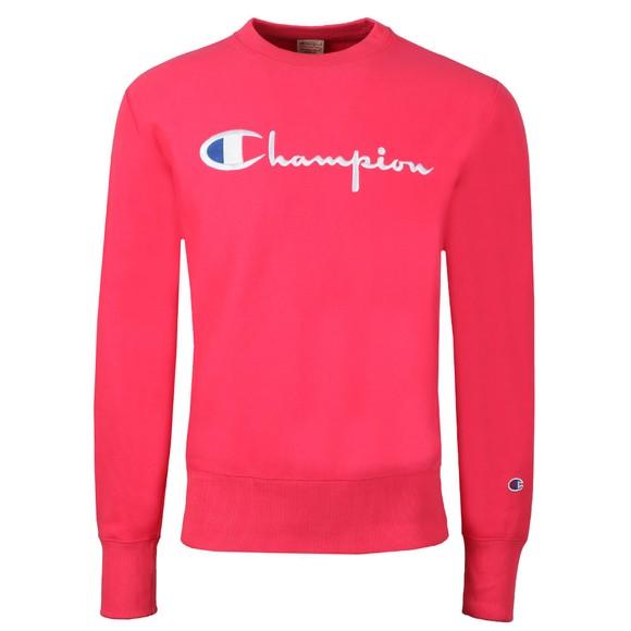 Champion Reverse Weave Mens Pink Script Logo Sweatshirt main image