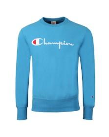 Champion Mens Blue Reverse Weave Script Logo Sweatshirt