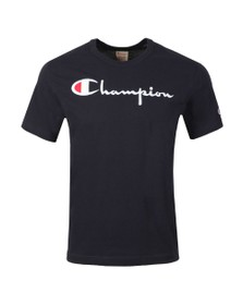 Champion Reverse Weave Mens Blue Script Logo T-Shirt
