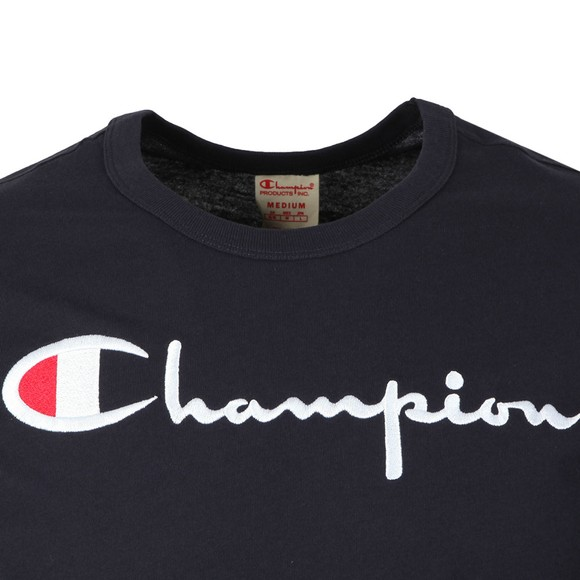 Champion Reverse Weave Mens Blue Script Logo T Shirt main image