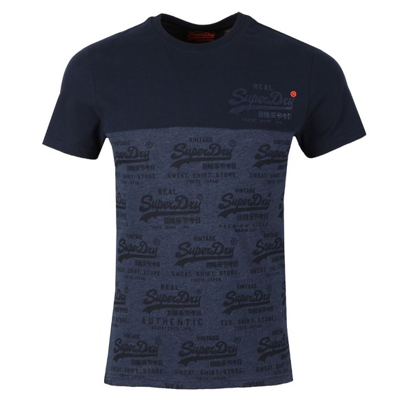 Superdry Mens Blue Vintage Logo Neon Panel Tee main image
