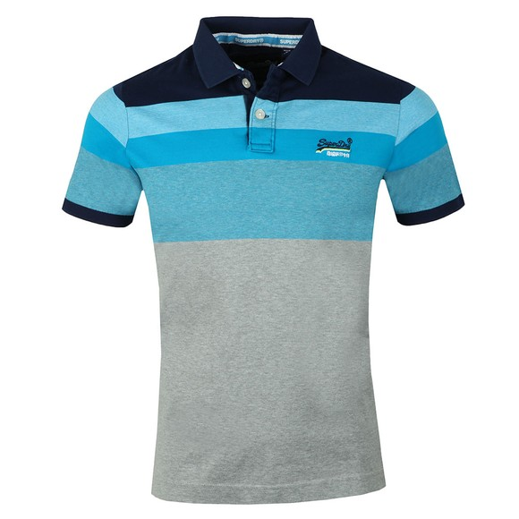 Superdry Mens Blue Miami Feeder Polo main image