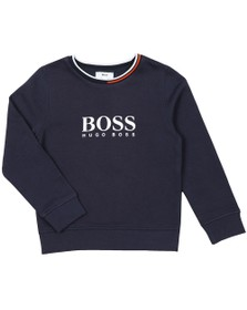 BOSS Boys Blue Large Logo Sweatshirt