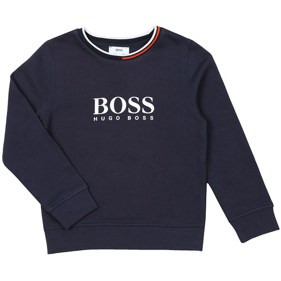 BOSS Boys Blue Large Logo Sweatshirt main image