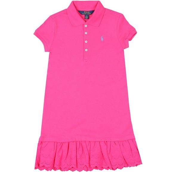 Polo Ralph Lauren Girls Pink Eyelet Polo Dress