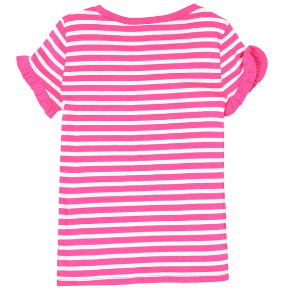 Polo Ralph Lauren Girls Pink Ruffle Sleeve Stripe T Shirt