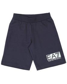 EA7 Emporio Armani Boys Blue Rubber Logo Jersey Short