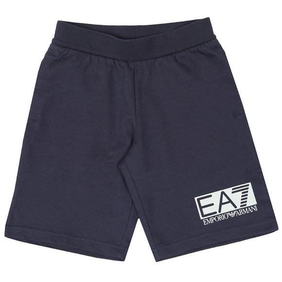 EA7 Emporio Armani Boys Blue Rubber Logo Jersey Short main image