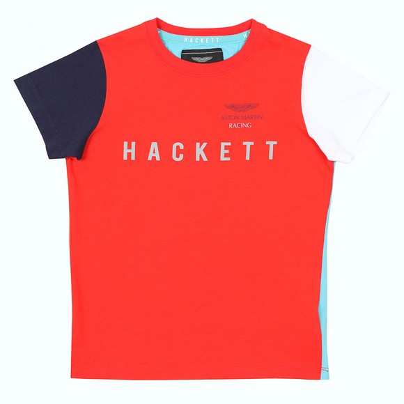 Hackett Boys Multicoloured AMR Multi Crew T Shirt main image