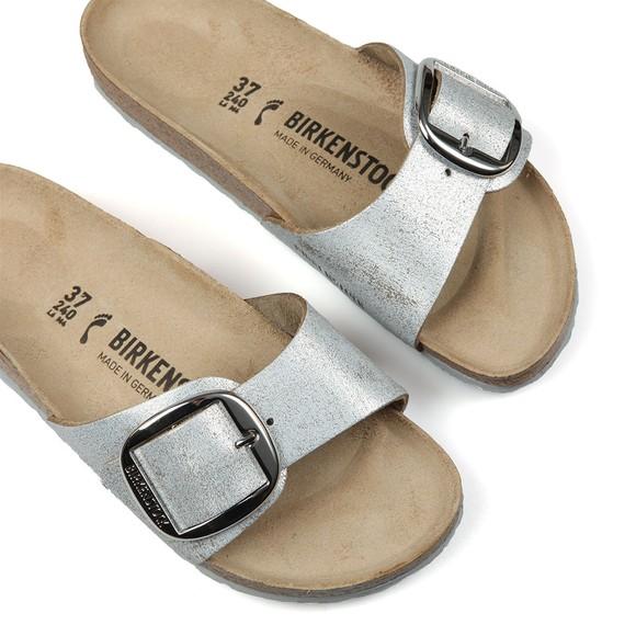 Birkenstock Womens Washed Metallic Blue Silver Madrid Big Buckle Sandal main image