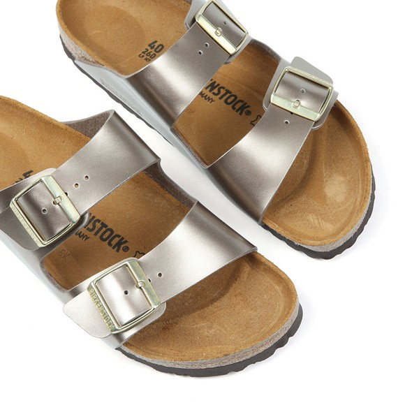 Birkenstock Womens Washed Metallic Taupe Arizona Sandal main image