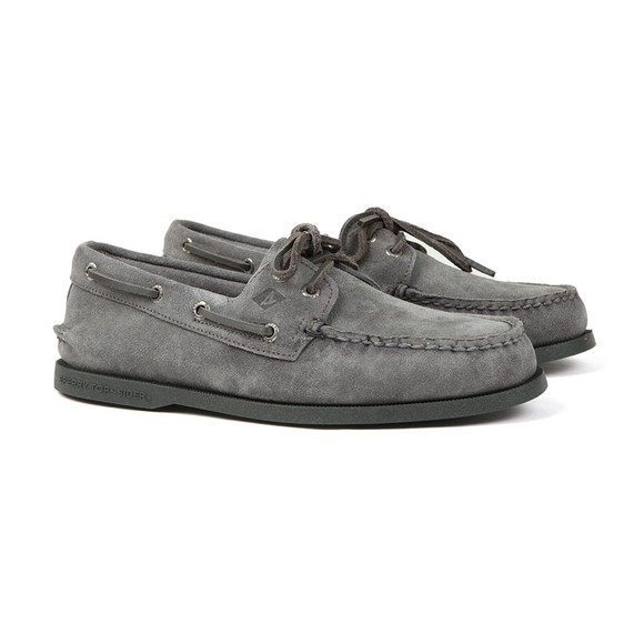 Sperry Mens Grey A/O 2 Eye Suede Boat Shoe