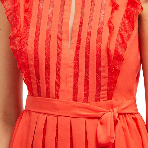 French Connection Womens Red Eva Light Solid Belted Dress main image