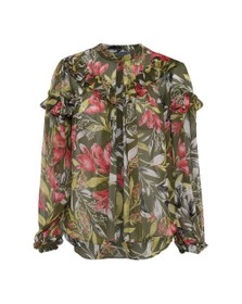 French Connection Womens Green Floreta Crinkle Printed Top