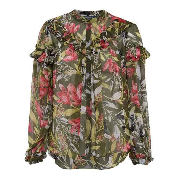 French Connection Womens Green Floreta Crinkle Printed Top main image