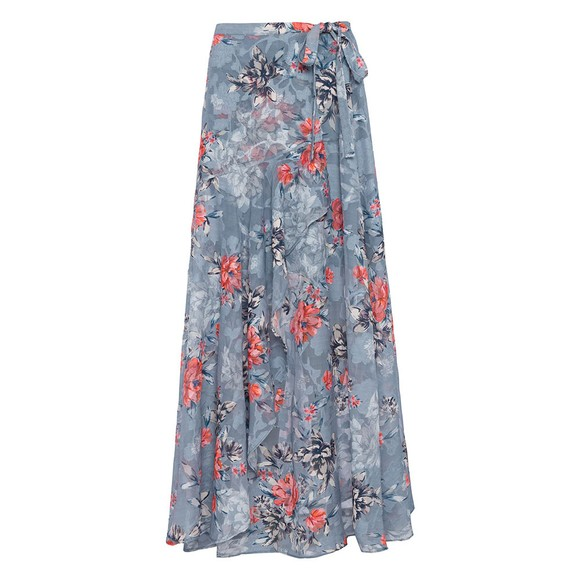 French Connection Womens Blue Cateline Devore Wrap Skirt main image