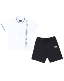 Emporio Armani Boys White Side Logo Polo & Short Set