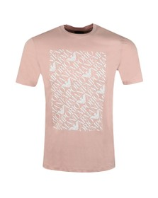 Emporio Armani Mens Pink Logo Square T Shirt