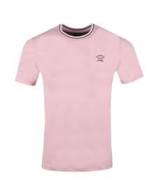 Paul & Shark Mens Pink Tipped Crew T Shirt