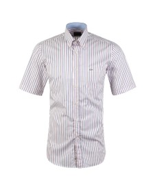 Paul & Shark Mens White Stripe Short  Sleeve Shirt
