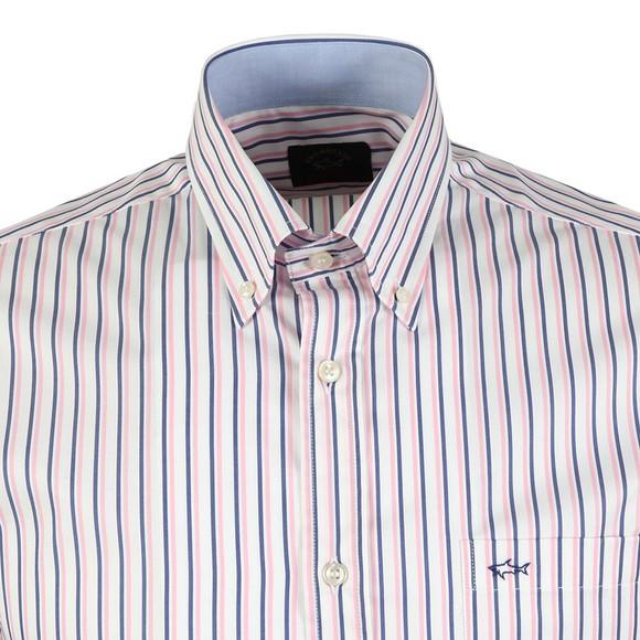 Paul & Shark Mens White Stripe Short  Sleeve Shirt