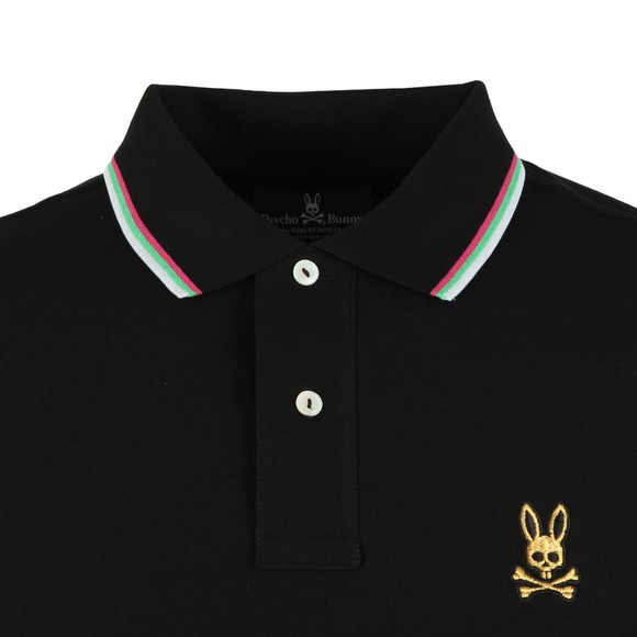 Psycho Bunny Mens Black Gold Embroidery Polo Shirt main image