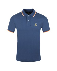 Psycho Bunny Mens Blue Gold Embroidery Polo Shirt
