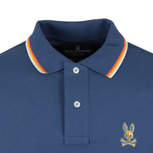 Psycho Bunny Mens Blue Gold Embroidery Polo Shirt main image