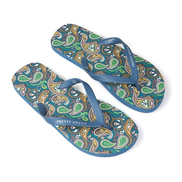 Pretty Green Mens Multicoloured Paisley Flip Flop main image