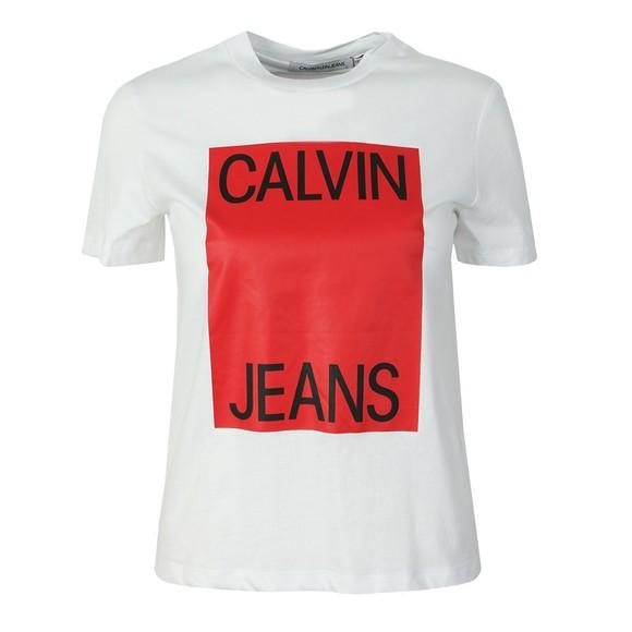 Calvin Klein Jeans Womens White Straight Box Logo T-Shirt main image