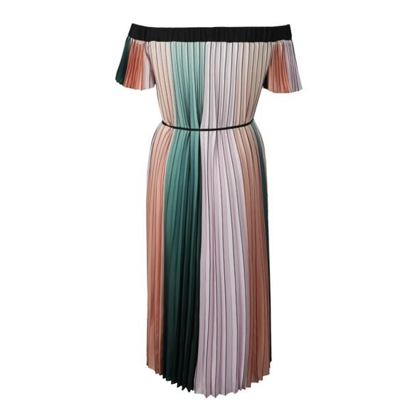Ted Baker Womens Purple Fernee Colour Block Pleat Maxi Dress main image