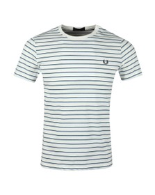 Fred Perry Mens White Fine Stripe Tee
