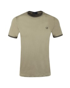 Fred Perry Mens Green Twin Tipped T-shirt
