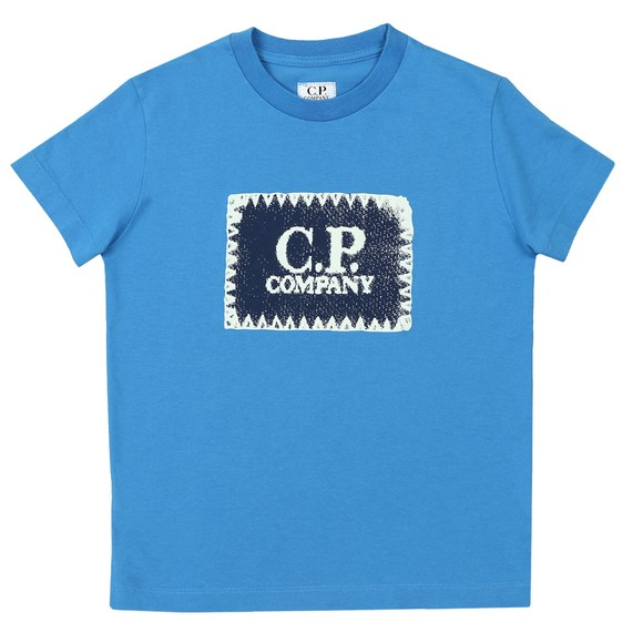 C.P. Company Undersixteen Boys Blue Stamp Crew T Shirt main image