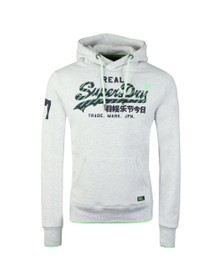 Superdry Mens Grey Neon Logo Tip Hood