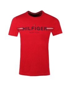 Tommy Hilfiger Mens Red Corp Flag Tee