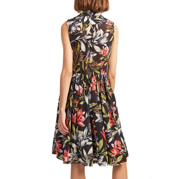 French Connection Womens Black Cadencia Drape Floral Shirt Dress main image