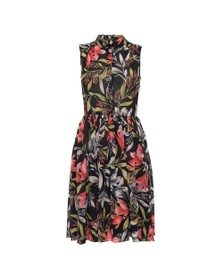 French Connection Womens Black Cadencia Drape Floral Shirt Dress