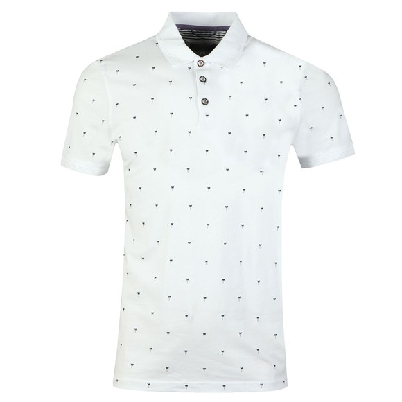 Ted Baker Mens White Palm Tree Printed Polo main image