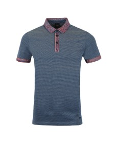 BOSS Mens Blue Casual Punch Polo Shirt