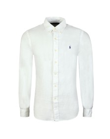 Polo Ralph Lauren Mens White Classic Fit Linen Shirt