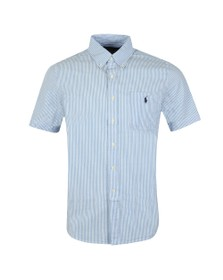 Polo Ralph Lauren Mens Blue Seersucker Short Sleeve Shirt