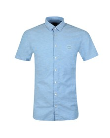 BOSS Mens Blue Casual Magneton Short Sleeve Oxford Shirt