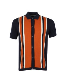 Ben Sherman Mens Blue Button Through Mod Polo